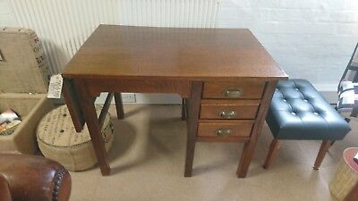 Fab Antique Vintage Deco Utility Petite Military Fold Down Desk 3 drawers Oak