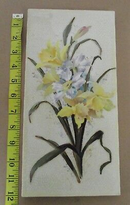 FLAXMAN Antique Victorian Tile Beautiful Design Daffodils & Wild Flowers 12x6in