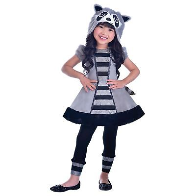 New Girls Racoon Animal Hoodie Hood Tail Kids Lost Boys Book Fancy Dress Costume