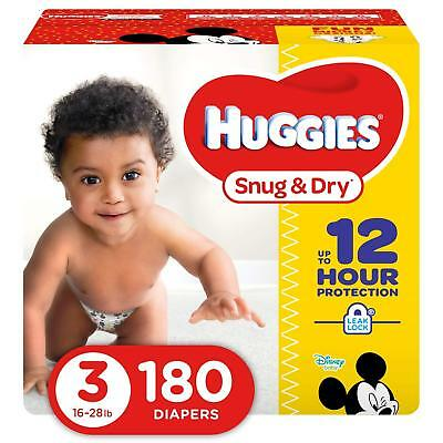 ***NEW*** Huggies Snug & Dry Diapers Size 3, 180 Count ***FREE SHIPPING***