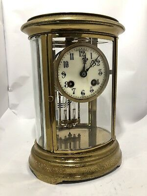 French Oval Four Glass Striking Mantle Clock