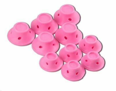10X Mushroom Silicone Hair Rollers Curlers Divider Long Hair Styling Tools Pink
