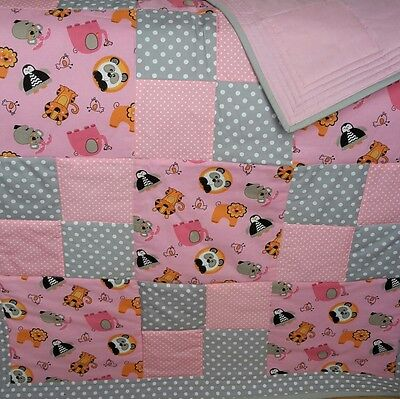 Baby Girl cot quilt  or play mat with cute animals