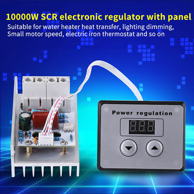 80A 10000W SCR Digital Voltage Regulator Speed Control Dimmer Thermostat AC 220V