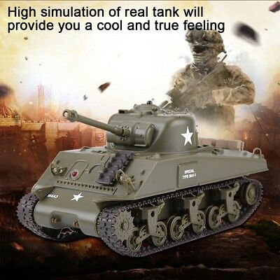 2.4Ghz Remote Control 1/30 US M4A3 Sherman IR Battle Tank R/C with Sound RTR