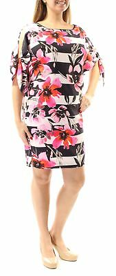 571d9ba3e66 VINCE CAMUTO  148 Womens 1361 Pink Floral Short Sleeve Shift Dress 14 B+B