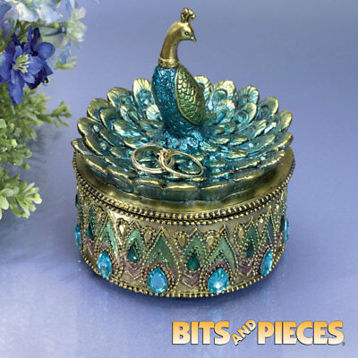 Hand Painted Peacock Keepsake Box with Crystal Accents Collectible Home Decor