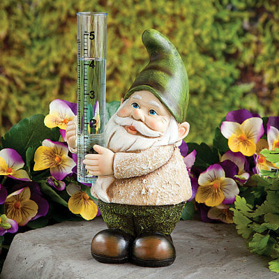 Gnome Rain Gauge - Charming Hand-Painted Sculpture For Garden, Patio, Yard Decor