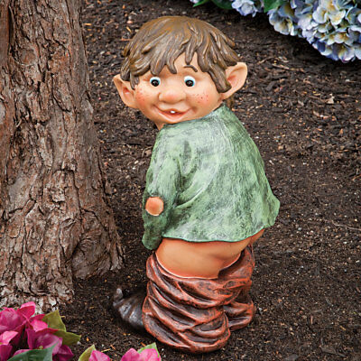 Garden Gnome Elf Statue Caught With His Pants Down Outdoor Yard Art Patio Décor
