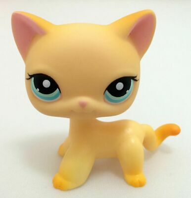 LPS 339 Littlest Pet Shop Yellow Short Hair Cat Kitty Kids Gift Toys Collection