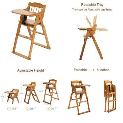 80e9b5c4edf9b ELENKER BABY WOODEN Folding High Chair With Tray Adjustable Height Chair -   98.15