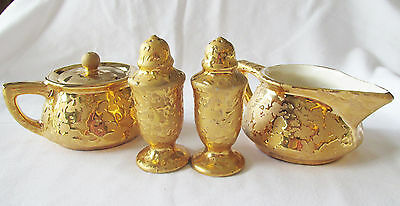 Vintage Mccoy Gold Brocade / Sunburst Sugar Creamer W/ Matching Salt & Pepper