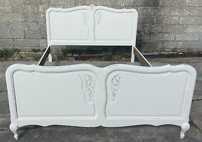 Shabby Chic Vintage French Painted & Distressed Louis Style Double Bed Frame