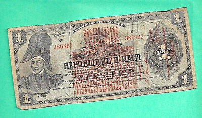 Republic Haiti One Gourde Bill 1903 Dessalines Paper Money Currency Cannon Bank