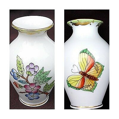 Herend Vase Porcelain Hungarian Queen Victoria Rare 3 Butterfly