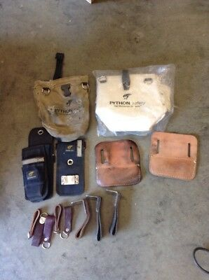 Lot of Iron Workers Tool Belt Accessories, etc. Python Tool Bags, Klein 27450