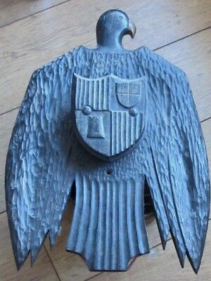 Unusual Antique Carved Painted Wood Folk Art Eagle Bird Emblem Crest Wall Plaque