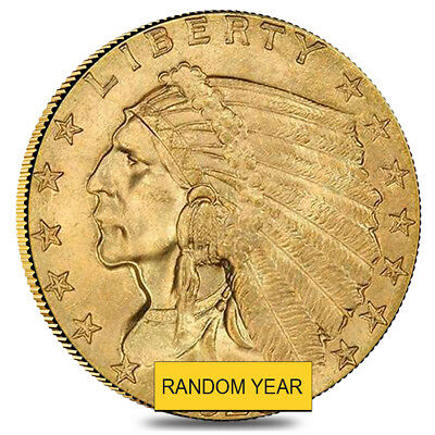 $2.5 Gold Quarter Eagle Indian Head - Brilliant Uncirculated BU (Random Year)