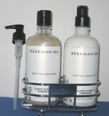 BEEKMAN 1802 Ylang Ylang and Tuberose Goat Milk Hand Wash & Lotion SET w/caddy