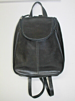 ffe4b6acdb TIGNANELLO Backpack Purse Black Smooth Leather Soft Rounded Double Zipper  Top