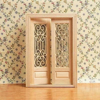 1:12 Dollhouse Miniature Wood Double Door Can Be Painted ss.US