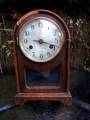 Antique Oak Domed Top German Mantel Bracket Clock