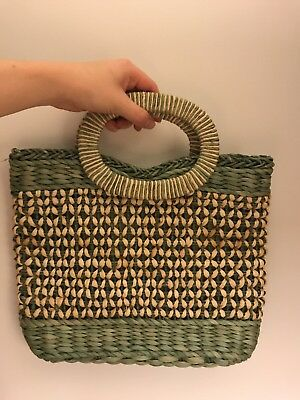 Raffia Straw Small Shopper Bag Vintage Dents 90s Sage Green & Natural