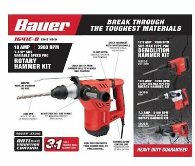 Rotary Hammer Kit - 1-1/8 in. SDS Variable Speed Pro (Used) - Bauer