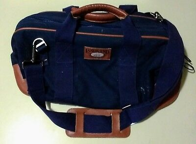 Vintage Lands End Square Rigger Deluxe Bag Carry-On Canvas Leather Blue    Navy 1fd829b351148