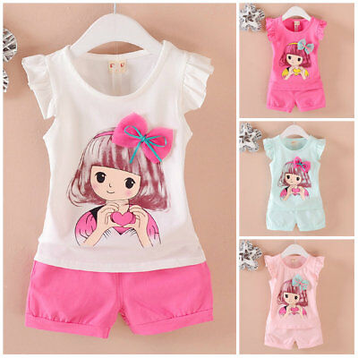 Kids toddler summer clothes baby girls cotton Tank+short pants 2pcs outfits girl