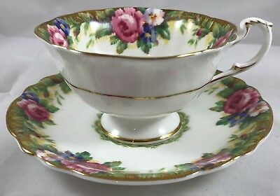 Paragon Tapestry Rose White Footed Cup & Saucer Double Warrant Mark