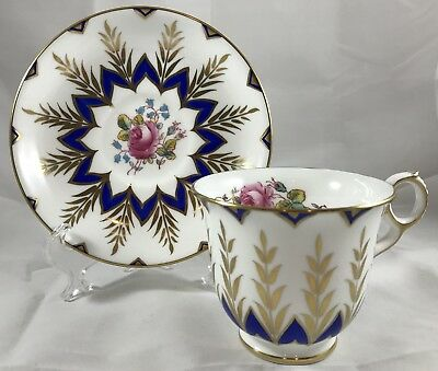 Royal Chelsea Footed Cup & Saucer Cobalt Blue & Gold Pink Rose Ring Handle