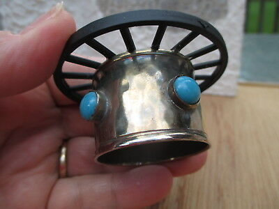 Dollhouse Miniatures Handmade Native American Silver & Turquoise Table w/ Wheel