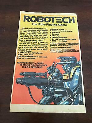 1987 VINTAGE 6.5x10 PRINT AD FOR ROBOTECH ROLE-PLAYING GAME RPG ADVERTISEMENT