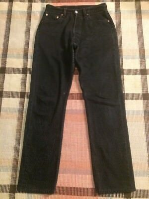 VTG Levi's 501 Made For Women Button Fly Black Jeans Measure 29x30 USA! 3361