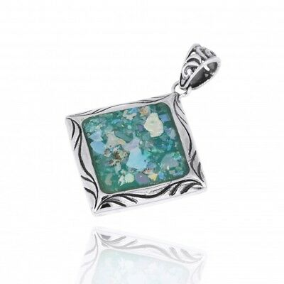 Handmade 925 Sterling Silver Pendant Kite Shaped With Ancient Roman Glass