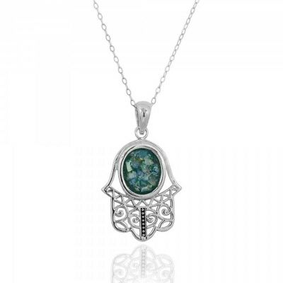 Original 925 Sterling Silver Pendant Hamsa With Ancient Roman Glass Great Gift