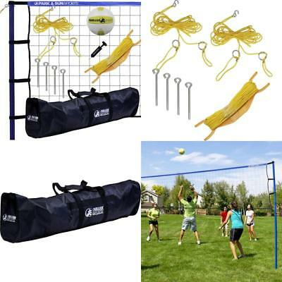 NEW Heavy Duty Spiker Sport Steel Portable Outdoor Volleyball Net Set with Bag