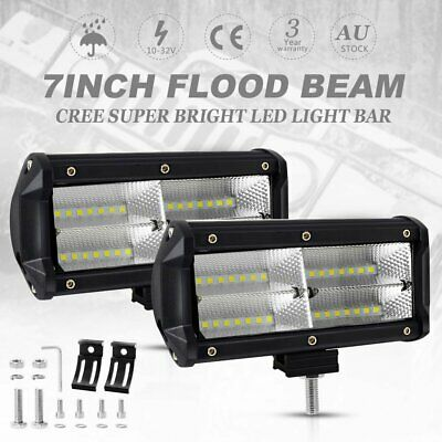 2x 7 inch 400W CREE LED Work Light Bar FLOOD Beam Driving Lamp Truck Offroad 4x4