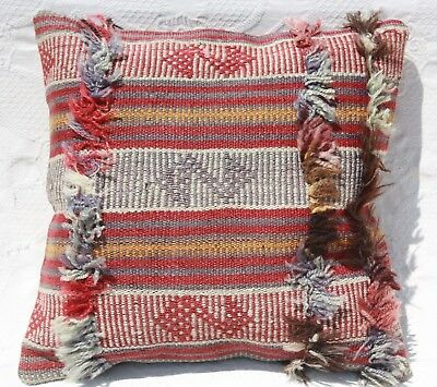 "TURKISH KILIM RUG PILLOW CUSHION COVER WOOL 16"" x 16"" Antique Geometric kilim"