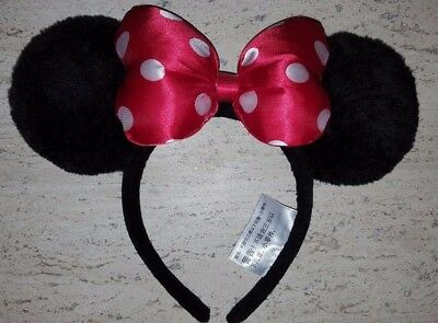 NEW Disney Parks Minnie Mouse Ears Plush Headband with Red Bow Polka Dots Youth