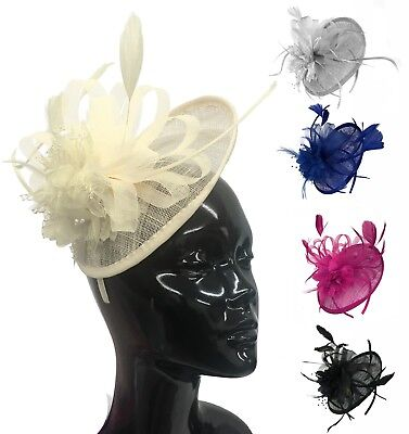 Sinamay Saucer Disc Wedding Fascinator Headband Aliceband Ladies Day Races Ascot