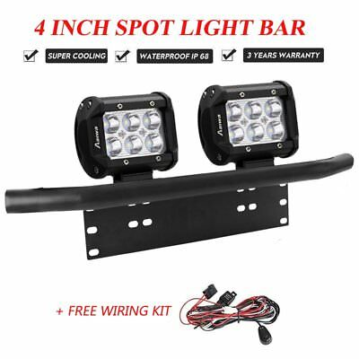 2x 4 inch CREE SPOT LED Work Light Bar + 23'' Number Plate Frame Mount Bracket