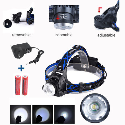 LED Headlamp Rechargeable Headlight CREE XML T6 Head Torch Zoomable Flashlight