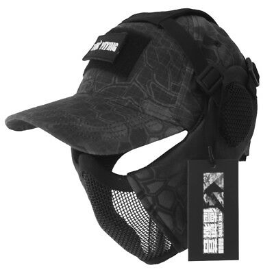Tactical Foldable Mesh Mask With Airsoft Paintball Baseball Cap BHK