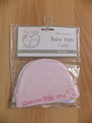 Baby hats, newborn/premature Boys Hats, 2 in Pack, 100% Cotton, White and Pink