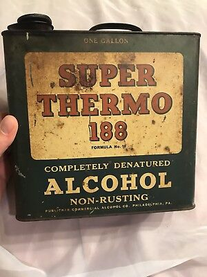 Vintage Antique Rare Early Super Thermo 188 Denatured Alcohol One Gallon Can