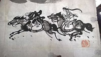 antique old japanese ink painting signed great