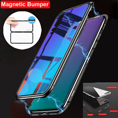 Magnetic Adsorption Metal Tempered Glass Case Cover For Huawei P20 Lite/P20 Pro