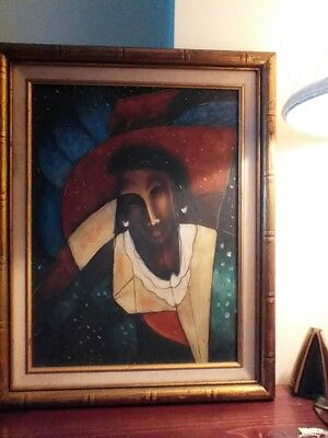 Black Woman African American in Red Hat framed Oil Painting Illinois Gallery